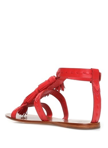 Tory Burch %100 Deri Sandalet Kırmızı